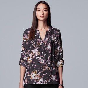 Vera Wang Pintuck Rolltab Blouse Size Large NWT